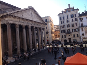 View of the Pantheon from our room at the Albergo Del Senato