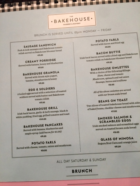 The Bakehouse Menu